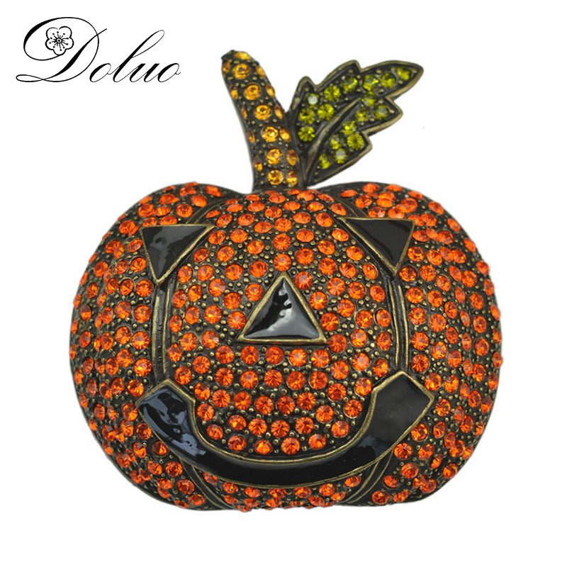 Halloween pumpkin brooch exaggerated large brooch Crystal dress clothing retro Plating Jewelry Rhinestone Pumkin Brooch Pin