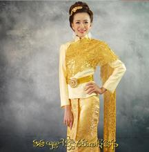 Thailand traditional clothing Thai Hotel Receptionist uniforms Long sleeve Thailand waitress uniform