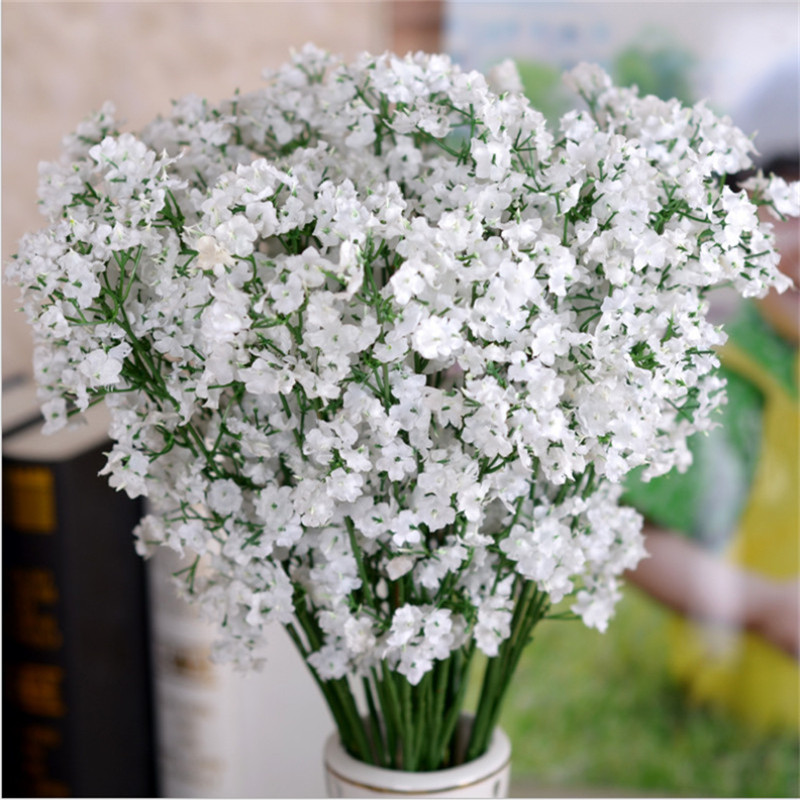 12pcs New Gypsophila Baby Breath Fake Silk Artificial Babysbreath Flowers Plant For Home Wedding Party House