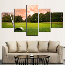Canvas Paintings Living Room Wall Art Framework 5 Pieces Sunset Golf Course Pictures HD Prints Green Hill Ball Poster Home Decor(China)