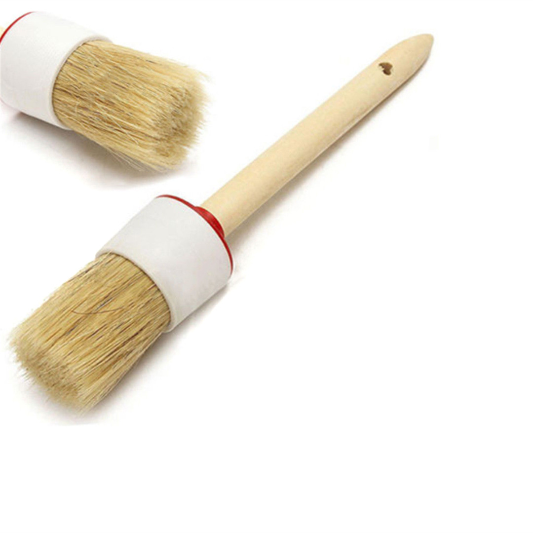 Mayitr Wooden Handle Wax Brush Artist Round Chalk Oil Paint Painting Wax Brush Home Cleaning Supplies