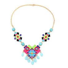 Pretty Girl Enamel Colorful Statement Necklace Online Shopping India New Design Women Jewelry(China)