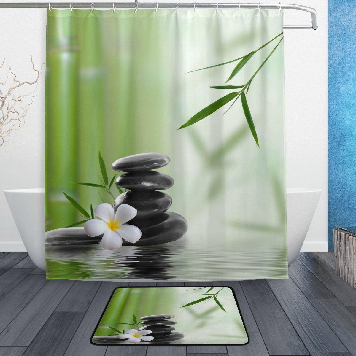 Green Shower Curtain Vintage Zen Asian Bamboo Print for Bathroom