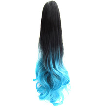 "DELICE 22""/55cm Women's Colorful Ombre Black Blue Long Curly Claw Ponytail Heat Resistance Synthetic Hair Piece"