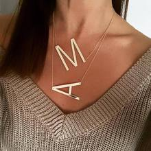 New Minimalist Gold Rose Gold Silver Color 26 A-Z Letter Name Initial Necklaces For Women Long Big Letter Pendant Necklace(China)