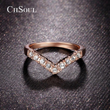 CHSOUL Classics V Lover Shape Ring With Top Quality Rhinestones Pave Setting Jewelry Wedding Rings For Women