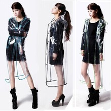 FREE SHIPPING FASHION WOMEN'S TRANSPARENT EVA RAINCOAT OUTDOOR TRAVEL WATERPROOF RAIN COAT(China)