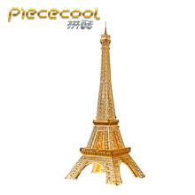 PieceCool 3D Metal Puzzle Classic Building Model of Eiffel Tower 3D Mini Assembly Simulation Model for Women Romantic Gifts(China)
