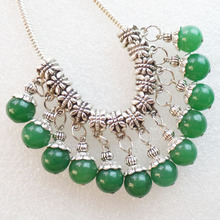 24 Pcs 10mm Round Green Jades Pendant Fit European Bracelet Necklace F1183(China)