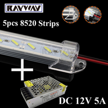 5pcs/lot Rayway New Dual Chip 8520 SMD LED rigid light Clear / Milky Cover led bar Light Strip + DC 12V 5A power supply adapter