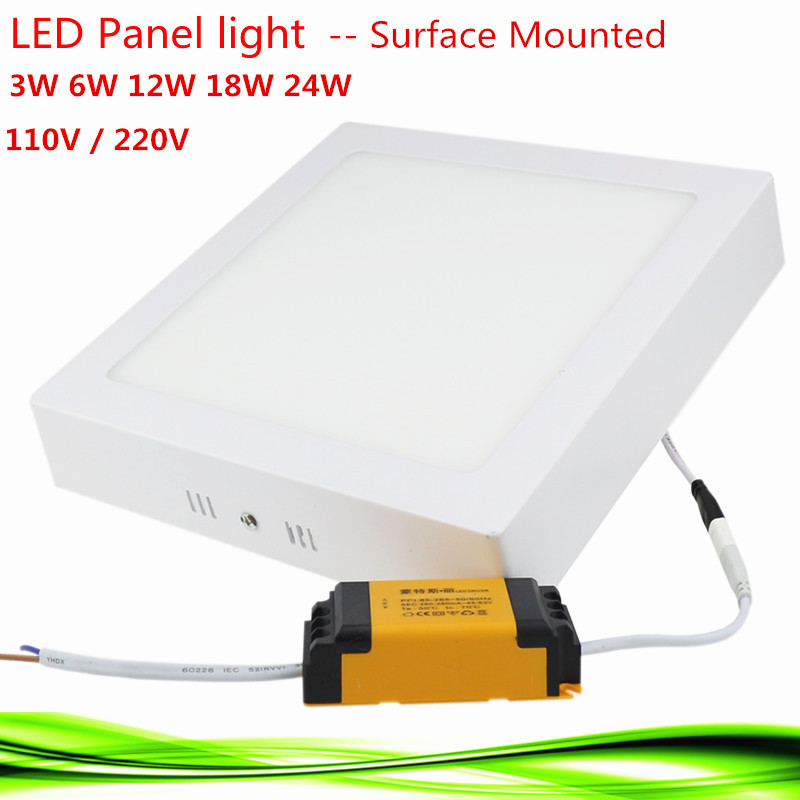 1X Led Panel Light 3W/6W/12W/18W/24W AC85-265V Square led bulb Surface Mounted led Downlight spot light lamp warm /white(China (Mainland))