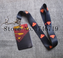 New 1 pcs cartoon superman Named Card Holder Identity Badge with Lanyard Neck Strap Card Bus ID Holders With Key Chai D-26(China)