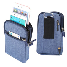 "4 Colors Pen Slot Design 3 Zippers Carabiner Pockets Bag For Multi Phone Model Hook Loop Belt Pouch For Smart Phone 6.3"" Below"
