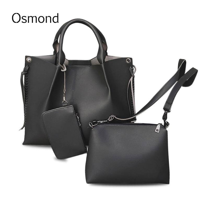 Osmond 3 PCS/Set Composite Bag Leather Handbags Women Messenger Bags Purse Solid Shoulder Bags Large Tote 2017 Top-Handle Bag<br>