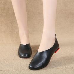 COOTELILI/женская кожаная обувь на плоской подошве; женские повседневные Лоферы без застежки с круглым носком; женские туфли-оксфорды; большие р...