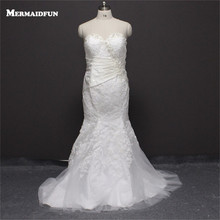 Buy 2017 Real Photos Mermaid Plus Size Sweetheart Beaded Lace back White Ivory Wedding Dresses Large Size Bridal Gown for $199.90 in AliExpress store