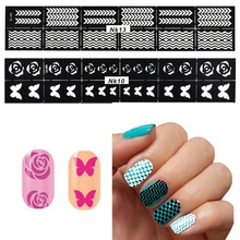 10Pcs/lot DIY Reusable Stamping Tool Nail Art Hollow Template Stickers Stamp Stencil Guide Function Tips 24 Style for Choice(China)