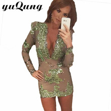 yuqung Women shiny sequins dress girls Long sleeve bodycon dresses paillette deep V neck party bandage sheath midi dresses green