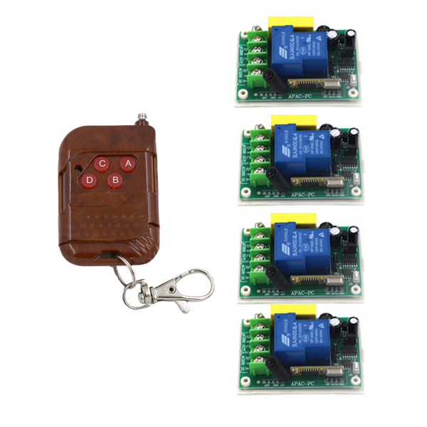 Free Shipping RF Wireless Remote Control Switch 4*220V 30A 3000W Receiver &amp; Transmitter System for Light water pump ON OFF 4360<br>