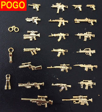 POGO 22pcs Military Series Weapons Bricks Army Soldier  toys Golden AK GUN Shotgun Police Compatible With e