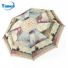 2017 New Women's Umbre Three-folding Compact Semi-automatic Umbrella Large Painting Pattern Quality Rainproof Strong Umbrellas(China)