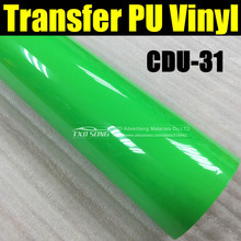 50X100CM/LOT PU Heat Transfer Vinyl /Heat Transfer Film for CDU31 Fluorescent green color by free shipping