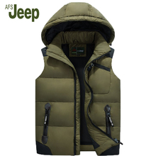 AFS JEEP 2016 New arrival quality men's down vest ;Removable Casual hooded down vest ; Fashion wild ;size from L to 5XL 80(China)
