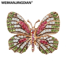 WEIMANJINGDIAN Multi-Color Micro Pave Crystal Rhinestones Butterfly Brooch Pins for Women in 12 assorted colors(China)