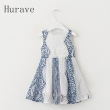 Hurave Trendy Summer 2017 Lace Children's Clothing Dress For Girl Dresses Floral Printed Sleeveless Baby Kids Dress