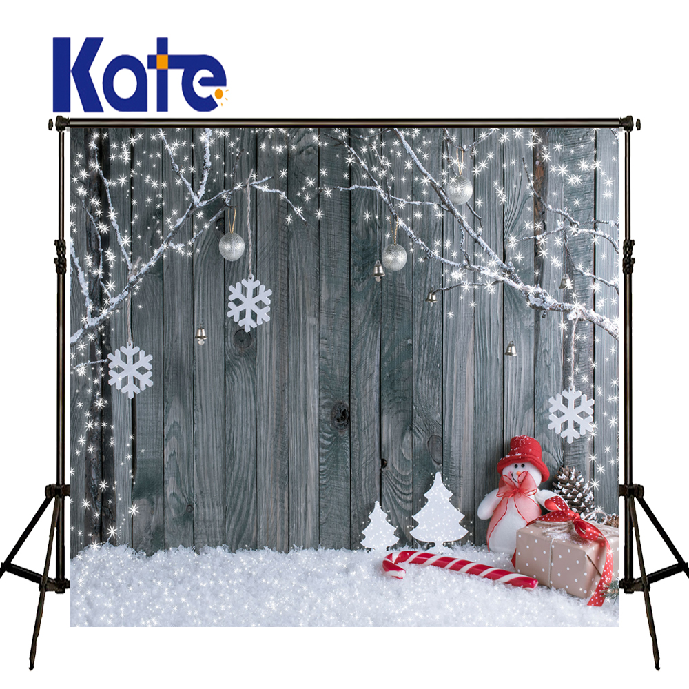 KATE Photography Backdrops Christmas Backdrop Boneco De Neve Photo Christmas Snow Photos Candy Cane Wood Kids Winter Backdrops<br>