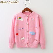 Bear Leader Girls Sweaters 2017 New Autumn Girls Clothing Long Sleeve Outerwear Cute 3D Print Pearl Button Design Coats For 3-7Y