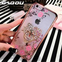 Hot New TPU Flower Ring Peacock Diamond Cases For iphone 6 6s 7 Plus Metal Rotated Kitty Finger Stand Holder Cover For iPhone 6s(China)