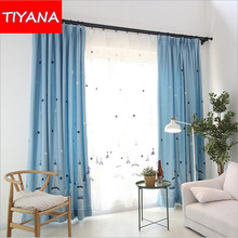 Cartoon Window Curtain For Kids Bedroom Embroidered Castle Star White Tulle Design For Girls And Boys Blackout Curtains wp401&2
