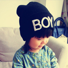 Cute Candy Color Cotton Baby Boy Girl Hats Letter Boy Beanie Cap Ski Hats Knitted Woolen Skull Hats Caps Accessories