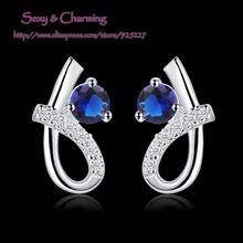 E536 High Quality! Wholesale Low Price Silver Plated Zircon CZ Zircon 4 Colors Select Fashion Jewelry Ear Studs Earrings