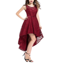 New Elegant Vintage O Neck Embossed Sleeveless Evening High low Dress Women Party Sexy Red Lace Dresses Vestidos