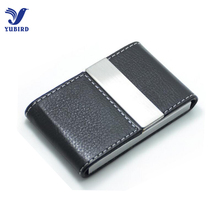 Big Capacity Business Name Card Holder Credit Card Holder Fashion Unisex Visit Card Case Metal Wallet PU Leather Solid Steel Box(China)