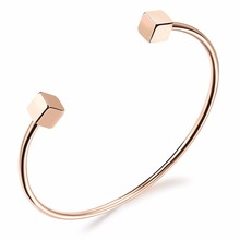 Rose Gold Color Double Square Cube End Cuff Bangle Bracelets in Stainless Steel