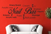 Nail Bar Collage Picture Quote Sticker Hair Beauty Salon Manicure Vinyl Wall Decal Wall Sticker Nail Shop Window Glass Decor