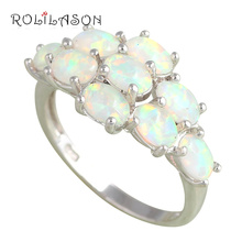 Luxury Brand design Green Fire Opal Silver Stamped Rings for women Fashion Jewelry Engagement items USA #7 #8#9 OR561 Hotselling