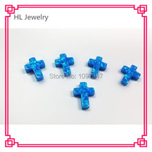7.5*10MM Full Drill Hole Opal Blue Cross Cabochon Synthetic Cross Opal Loose Stone(China)