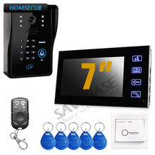 "HOMSECUR Touch Key 7"" LCD Video Door Phone Intercom System with IR Camera & Code Keypad + HOMSECUR Exit Button"