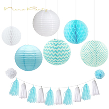 Nicro Festival Lantern Set Pom Pom Tissue Paper Tassel Wall Hanging For Wedding/Birthday Party Decorations 10Pc Set wholesale