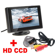 "4.3""Digital TFT LCD Mirror Car Parking Monitor+170 Degree Car Rear view Rearview Camera 2 in 1 Auto Parking Assistance System(China)"