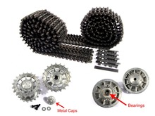 Mato Metal black Tracks sprockets early with metal caps idler wheels with bearings for Heng Long 3818 1 16 RC Tiger 1 tank(China)