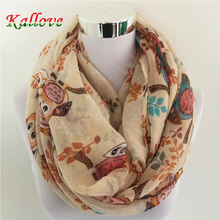 New women's animal birds owl scarves fashion viscose headband muslim popular wrap winter tree print infinity scarf shawls
