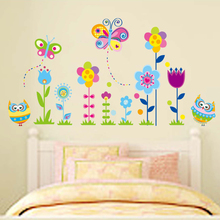 Beautiful Flowers Lovely Owls Butterflies Wall Sticker Decal DIY Poster Home Kitchen Decoration Accessories kid Baby Room Decor