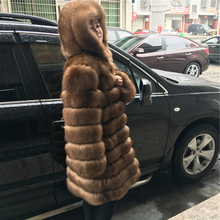 100% Real Blue Fur Coat With Hooded For Women Natural Winter Genuine 90cm Long Thick Rich Sable Fur Leather Russian Fur Coats(China)