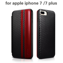 XOOMZ Top Design PU Leather + silicone Flip Case for apple iphone 7 /7 plus Carbon Fiber Stylish Folio phone cover Cases