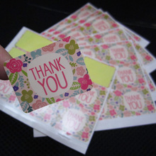 450pcs/50sheets-Floral Thank you adhesive sticker DIY gift packaging seal label paper tag gift decoration